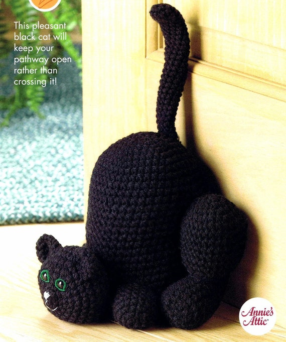 Free Crochet Cat Doorstop Patterns : Scaredy Cat Doorstop Crochet Pattern Annies Scrap Crochet Club