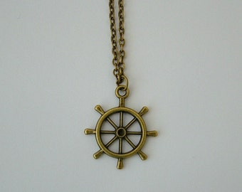 Bronze ships wheel necklace, nautical, ship wheel, pirate, ocean, nautical, pirate necklace, pirate ship necklace, ship necklace, sailor