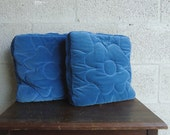 Vintage Pair of Blue Velour Tufted Throw Pillows FREE SHIPPING