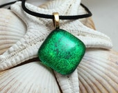 Emerald Green - Dichroic Fused Glass Jewelry - Pendant - Necklace - Gold Plated Bail - Satin Cord
