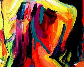Abstract Nude print colorful art by Aja Femme 172 - 8x10, 11x14 and 16x20 inches choose your size