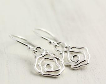 Silver Rose Dangle Earrings