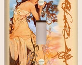"Alphonse Mucha ""Summer"" Art Nouveau - Brown, Tan and Blue - Single Toggle Light Switch Plate"