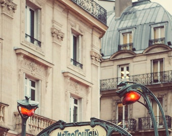 Paris Metro Sign, Paris Photography, Art Nouveau Architecture Art Print, Paris Print, Wall Art, Vintage Guimard - Metropolitain
