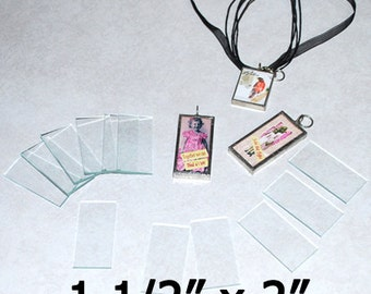 "100 )( of 1-1/2 x 2 Inch Rectangles - ((( 100 pack ))) 1.5 x 2"" Clear Pendant Glass for Solder Art 2mm thick"