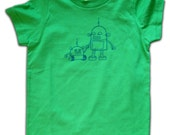 Robot Toddler Tee for boys or girls, Navy on Green, in 2T or 4T
