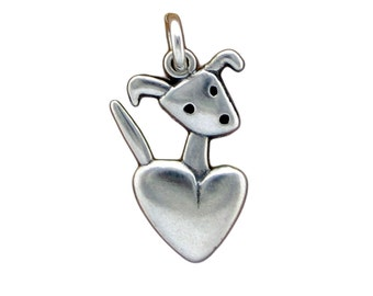 Little Puppy Necklace - Sterling Silver Dog Pendant - Dog and Heart Charm