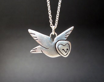 Sterling Silver Barn Owl Necklace - Silver Owl Pendant