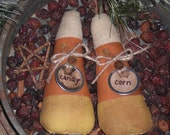 2  Primitive Whimsical Halloween Mini Candy Corn Bowl Fillers Ornies Ornaments Shelf Sitters Tucks
