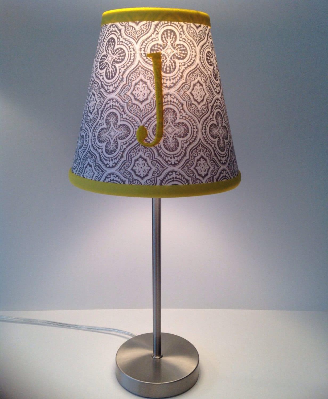 jordan monogrammed lamp shade gray medallions fabric yellow. Black Bedroom Furniture Sets. Home Design Ideas