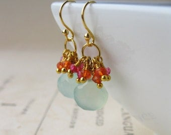 Chalcedony and quartz cluster earrings in 14kt gold fill with mystic quartz