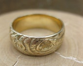 Size exchange: Mens wedding band GOLD wood grain ring Plywood 14 kt yellow