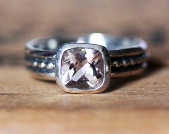 Pink morganite engagement ring, unique engagement ring, morganite solitaire ring, bezel engagement ring pink engagement ring, oxidized Crush