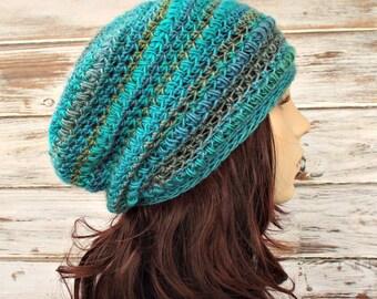 Crochet Hat Womens Hat - Penelope Puff Stitch Slouchy Beanie Hat in Tidal Teal Aqua Blue Hat Blue Beanie Womens Accessories Winter Hat