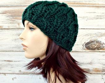 Knit Hat Green Mens Hat Womens Hat - Amsterdam Cable Beanie Pine Green Knit Hat - Green Hat Green Beanie Womens Accessories Winter Hat