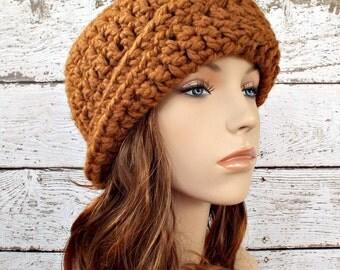 Brown Womens Hat 1920s Flapper Hat - Garbo Cloche Hat Hazelnut Brown Crochet Hat - Brown Hat Brown Beanie Womens Accessories Winter Hat