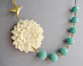 Ivory Flower Necklace,Ivory Floral Necklace,Aqua Necklace,Bridesmaid Necklace,Wedding Jewelry Set,Flower Floral Jewelry,Bridesmaid Gift