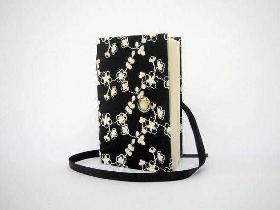 Black Journal notebook Handmade journal lined journal for writing personal diary with white embroidery opens with Silver Button and Ribbon