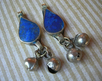 Kuchi Lapis Pendant TEARDROP Dangles with Bells lot of 2 ETHNIC ELEMENTS