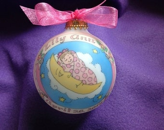 Baby Girl Baptism Ornament, Baby in the Moon Keepsake Personalized Ornament, Handpainted, and totally Original, WITHOUT Display Stand