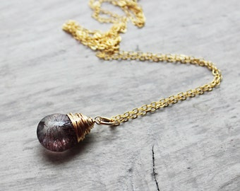 Moss Amethyst Necklace, 14kt Gold Fill Necklace, Purple Gemstone Necklace, Wire Wrap Necklace, Gemstone Pendant, February Birthstone