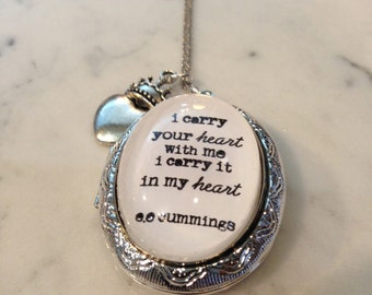i carry your heart with me Necklace. ee cummings poetry. Silvery Locket and Charms.