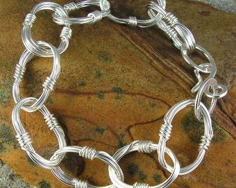 Large Oval Links Bracelet Polished Sterling Multi Wire Wirework Bold - Gathering