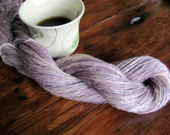 Luxury handspun silk and bamboo thin lace weight purple thread for weaving, lace,  tatting, embroidery, knitting, crochet