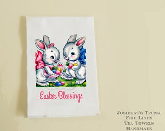 Easter hostess gift etsy easter bunny tea towel linen hostess gift retro easter blessings negle