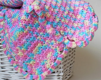 Crochet Baby Blanket. Car Seat Blanket. Newborn Wrap. Infant Afghan. Multicolor Lovey. Baby Doll Blankie. Toddler Lapghan. Security Blanket