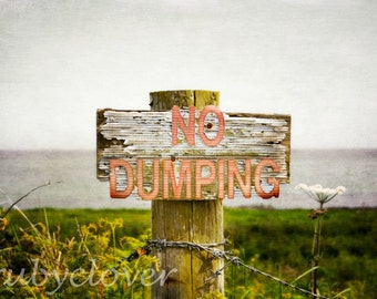 NO DUMPING, County Down, Irish Sign, Ards Peninsula, Northern IRELAND, Save The Environment, Weathered Sign, Wasteland, Distressed Wood,Dump