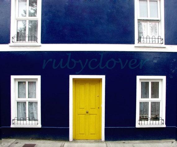 DINGLE DOOR, Colorful Irish House Photo, Architecture Photography, Blue House Yellow Door, Quaint Ireland Town, Scandinavian Colors, Swedish