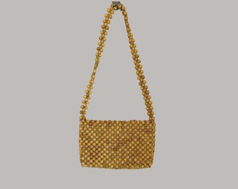 Vintage Bag, Shoulder Bag, Wood Beads, Boho, 1970's,