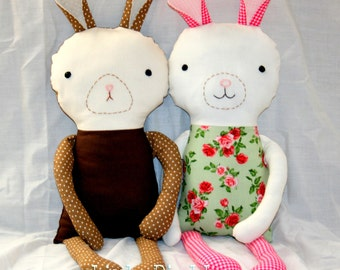 Instant Download Bunny Rabbit Rag Doll 17 Inch Tall DIY Sewing Tutorial