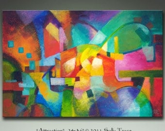 Modern abstract canvas giclee print from my original painting, Attraction, geometric art, abstract landscape, large wall art