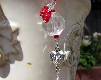 Rearview Mirror Jewelry Charm Car Feng Shui Heart Red