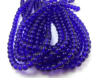 40 Cobalt Blue Glass Beads 8mm round (H2680)