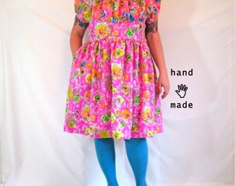 SALE - Frolic (neon print MashUp) Dress -- plus size, size 24, 3X -- fit and flare dress, handmade in vintage fabrics -- 52B-44W-75H