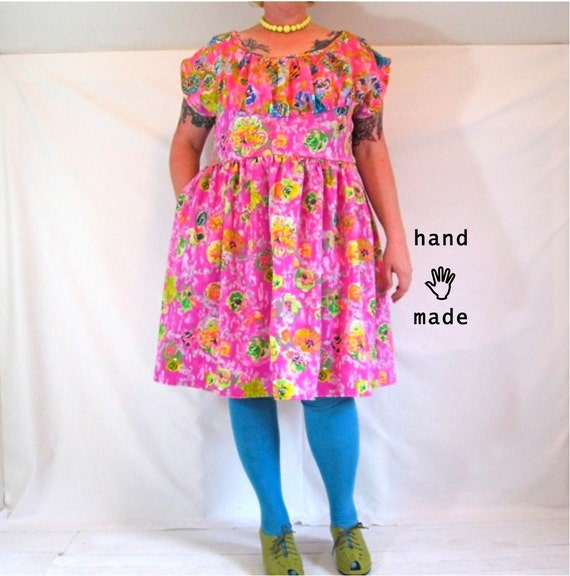 SALE - Frolic (neon tropical print) Dress -- plus size, size 24, 3X -- fit and flare dress, handmade in vintage fabrics -- 52B-44W-75H