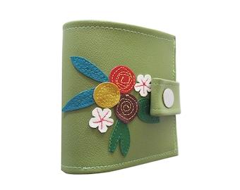 Flowers ) Bifold Wallet With Snap (Plus Zipper) Green