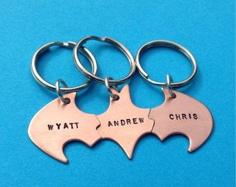 Batman Best Friend key chains in COPPER for THREE friends Friendship Personalized keychains