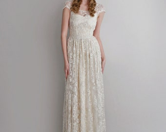 Melissa--2 Piece, Hand-Beaded Lace and Silk Wedding Dress