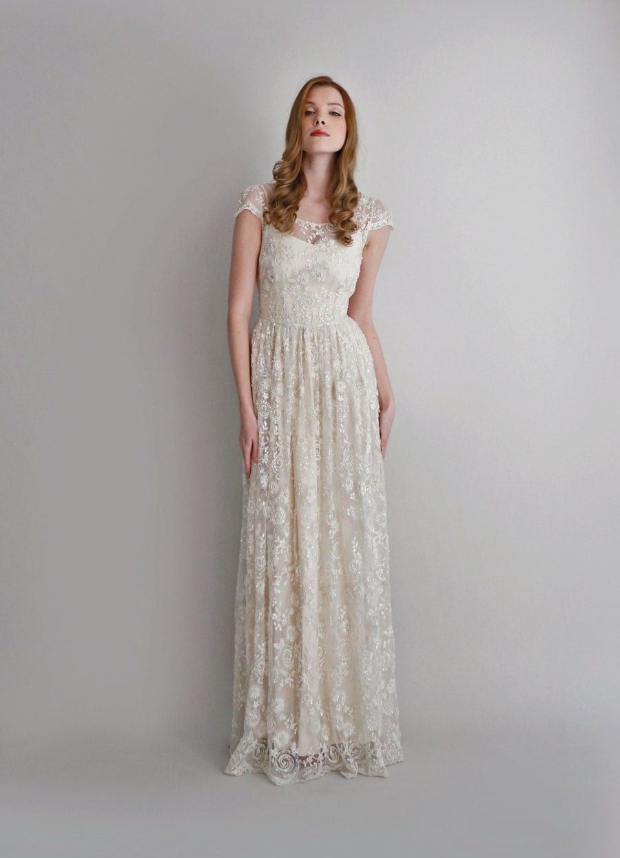 Melissa2 piece hand beaded lace and silk wedding dress for Hand beaded wedding dresses