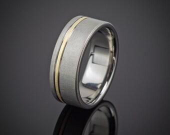 Titanium Gold Wedding Ring Comfort Fit Interior