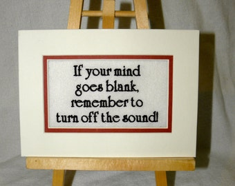 """Blank Mind Quote Control Embroidered Matted 7"""" x 5"""""""