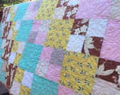 Precious Baby Quilt. Patchwork Toddler Size Blanket Crib Bedding, Ready 2 Ship. Designer Fabric in Warm Tones. One of a Kind.  Custom Avail.