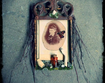 Assemblage Imaginary Ancestor, 19th century, vintage photo, found objects, assemblage, French vintage, Victorian, Gothic decor, mourning