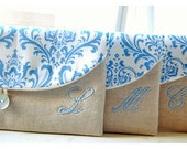 Blue clutch purse Set 3 4 5 Personalized Bridesmaid Gift Bridesmaid Clutch Wedding Clutch shabby chic purse for her Bridesmaid Gift Wedding