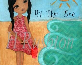 Beach Art - Original Art for Children - Mixed Media Painting- Folk Art-  Girls Beach Decor-African American Girl Art- 9x12