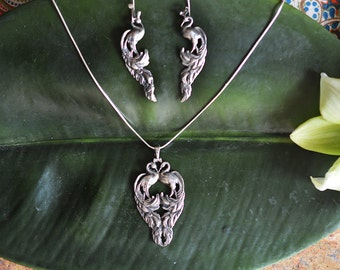 Vintage Heirloom Peacock Earrings & Necklace Set in Sterling Silver